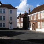 a photograph of buildings at the corner of Lion Street and St. Martin's Square in Chichester, West Sussex, England