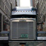 a photograph of a truck in a Manhattan street in New York