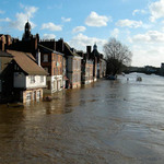 a photograph of flooding of the river Ouse in York, North Yorkshire, England
