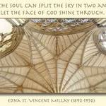 Church roof with quote about the soul by Edna St. Vincent Millay