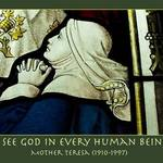 photo of a stained glass window with a woman praying and a quote about God by Mother Teresa