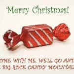 photo of a candy in a wrapper and a quote about the Big Rock Candy Mountains
