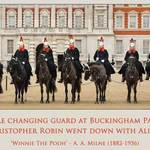 Palace Guards on horseback with a quote about guards and Buckingham Palace by A A Milne