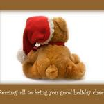 photo of a teddy bear wearing a santa hat