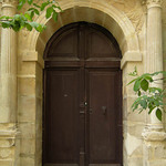 A photo of a building with arched doorway & stone columns - Jerusalem