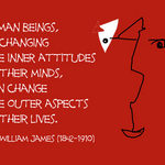 Changing Attitudes - WILLIAM JAMES: Human beings, by changing the inner attitudes of their minds, can change the outer aspects of their lives.