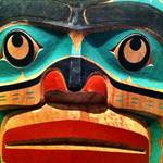close up photo of an eskimo totem pole