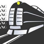 graphic, styled train with word 'clang' repeated