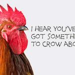 rooster with text 'I hear you have something to crow about.'