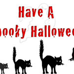 cats in a line with 'Have A Spooky Halloween'