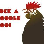 cockerel with text that reads 'cock a doodle doo.'