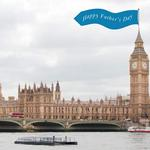 Banner reading 'Happy Father's Day' over the Houses of Parliament