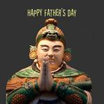 Man with hands clasped and text 'Happy Father's Day'