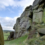 rocks, trees, and fields at Almscliff Crag in Yorkshire, England