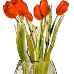 Impressionist colored drawing of red roses in a glass vase