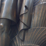 photo of representation of folds of material in metal sculpture