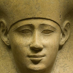 photo of a stone pharaoh head