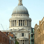 photo of St. Paul's In London seen from the Millennium Bridge that spans the Thames