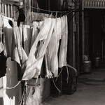 photo of tzitzit hanging on a washing line in Jerusalem