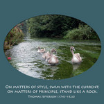 photo of swans on a river with a quote by Thomas Jefferson about style and principle
