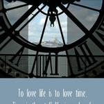 Photo of a giant clock seen from inside its mechanism, with a quote by Benjamin Franklin about time.