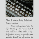 photo of an old typewriter and a quote by Mark Twain about using and owning one.