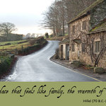 photo of a country lane with a cottage and a quote about home by Hillel